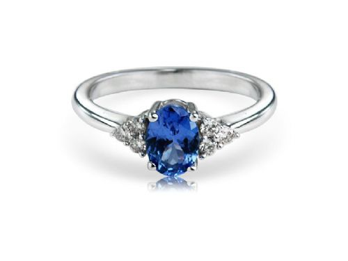 White gold tanzanite and diamond oval ring